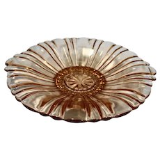 Hocking Old Cafe Pink Mint Candy Dish 8 1/2 IN Depression Glass