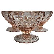 Jeannette Pink Windsor Sherbets Depression Glass Set of 3