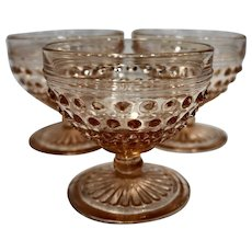 Hobnail Pink Depression Glass Hocking Sherbets Set of 3