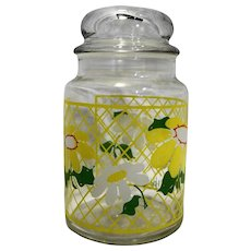 Hildi Daisies Lattice Anchor Hocking 7 IN Canister Glass