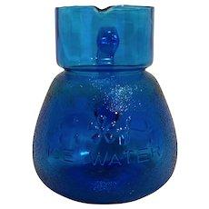 Capri Sky Blue Ice Water Small Pitcher Art Glass