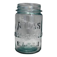 Atlas Strong Shoulder Mason Jar Pint Pale Blue Green Vintage