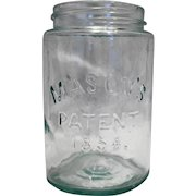 Port Mason Jar Patent 1858 Aqua Glass Pint Size