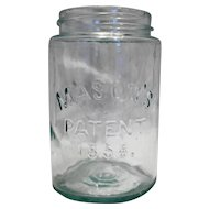 Port Mason Jar Patent 1858 Aqua Glass Pint Size