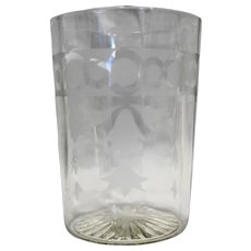Acid Etched Optic Panels Depression Glass Clear Tumbler 3 3/4 IN