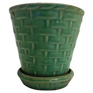 Jadeite Green Basket Weave Pottery Flower Pot Planter