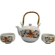 Japan Kutani Porcelain Floral Gilt Tea Pot Cups Set Modern