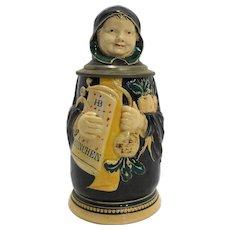 J Reinemann Munich Figural Character Beer Stein Monk German Antique 8 IN