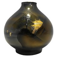 Japan Mixed Metal Bronze Vase Gold Pagoda Mountain Scene 4 IN