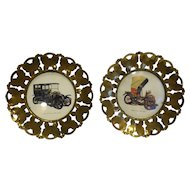 Brass Butterflies Rim Antique Auto Art Hanging Wall Plates Made in England
