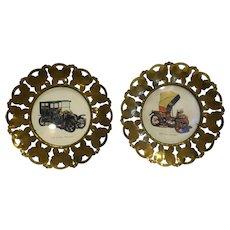 Brass Butterflies Rim Antique Auto Art Hanging Wall Plates Made in England