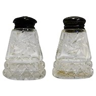 American Brilliant Period Cut Glass Salt Pepper Shakers Pinwheel Finecut Buttons Zippers
