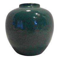 Chinese Green Monochrome Robin's Egg Glaze Porcelain Vase Jar 18th-19th Century Blue Double Ring Mark
