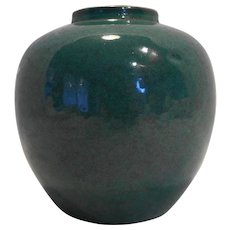 Chinese Green Monochrome Robin's Egg Glaze Porcelain Vase Jar 18th-19th Century Blue Double Ring Mark