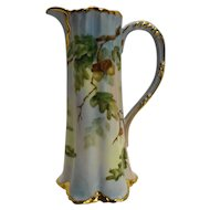 Haviland Limoges Hand Painted Acorns Oak Leaves Tall Pitcher Ewer Artist Signed Heavy Gold