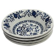 Enoch Wedgwood Blue Heritage Onion 6 5/8 IN Coupe Cereal Bowls Set of 4
