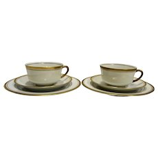 Syracuse Old Colony Dessert Sets Pair White Gold Trim Cups Saucers Plates