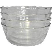 Pyrex 464 10 OZ Ramekin Custard Bowls 3 Ring Scalloped Rim Clear Glass