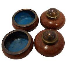 Cloisonne Enamel Salt Cellars Shakers Set Pair Copper Rust Turquoise 1920s Vintage Chinese