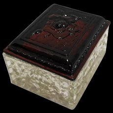 Royal Ruby Anchor Hocking Glass Jewel Dresser Trinket Box Rose Embossed Lid Clear Base