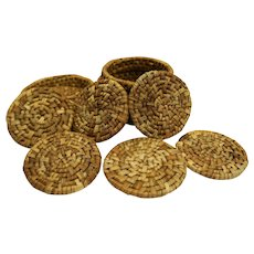 Vintage Midcentury Straw Coaster Set 6 With Case