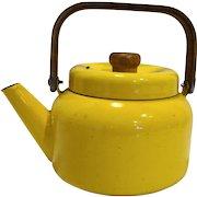 Midcentury Danish Modern Bright Yellow Enamel Tea Kettle Pot