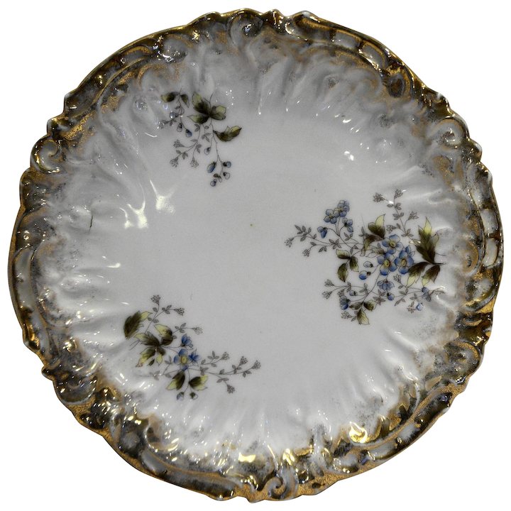 Antique Set Of Handpainted Gold Trimmed Scalloped Signed Porcelain Plates Plates & Chargers