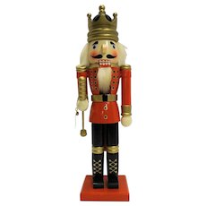 Wooden Nutcracker King 16 IN Red Black Uniform Gold Crown