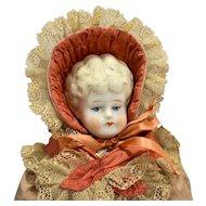 Hertwig & Co Germany Antique Pet Name Ethel Porcelain Doll Blond Blue Eyes 17 IN