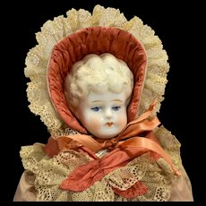 Hertwig & Co Germany Antique Pet Name Ethel Porcelain Doll Blond Blue Eyes 17 IN