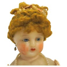 Antique Wax Doll Lace Dress French German Glass Eyes Human Hair Wig 17 IN 1890s
