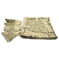 Battenberg Style Hand Made Ecru Lace Linen Tablecloth Six Napkins Set