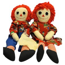 Raggedy Ann And Andy Cloth Dolls 1980s Hand Made Extra Clothes