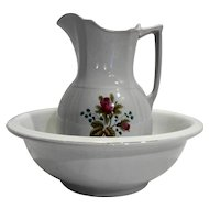 Alfred Meakin Royal Ironstone Rose Transfer Wash Pitcher Ewer Basin Set 1890s