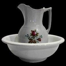 Alfred Meakin Royal Ironstone Rose Transfer Wash Pitcher Ewer Basin Set 1890s