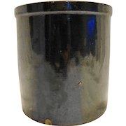 Dark Brown Glazed Stoneware Crock Gallon Unsigned