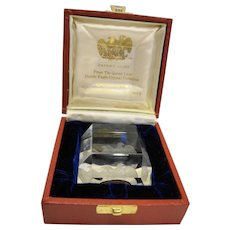 Queen Lace Crystal Double Eagle Cut Paperweight American US Bicentennial Society In Box