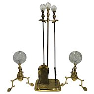 Joe Zimmerman Art Glass Paperweight Brass Fireplace Tools Andiron Set