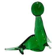 Emerald Green Art Glass Seal Sea Lion Figurine Italy Royal Gallery 6 IN