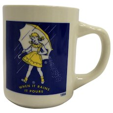 Morton Salt When it Rains it Pours Yellow Dress Umbrella Mug Advertising