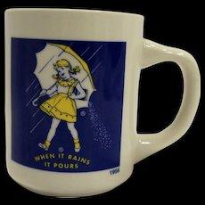 Morton Salt When it Rains it Pours Yellow Dress Umbrella Mug Advertising