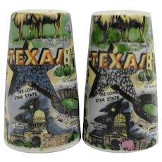 Texas Souvenir Salt Pepper Shakers Thrifco Japan Porcelain