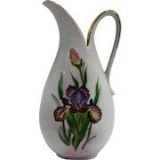 Iris Hand Painted Porcelain Pitcher Vase Ewer