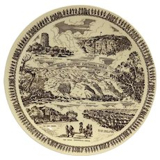 Vernon Kilns Grand Canyon National Park Fred Harvey Arizona Brown Transferware Souvenir Plate