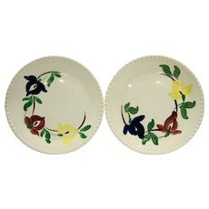 Carnival Blue Ridge Southern Pottery Hand Painted Lunch Plates Floral Blue Red Yellow