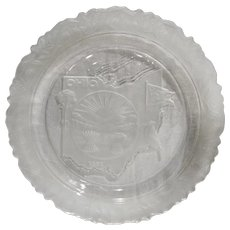 Ohio Map State Plate Fostoria Clear Crystal Frosted 1971