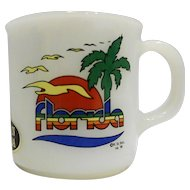 Florida Souvenir Milk Glass Mug Ovenproof USA 1985