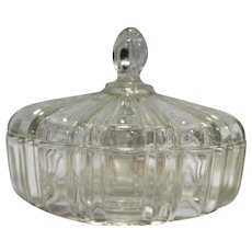 Anchor Hocking Old Cafe Clear Glass Candy Dish Round Box Depression