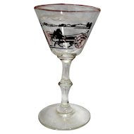 Libbey Wine Glass Horse Carriage Black Red 5 1/2 IN