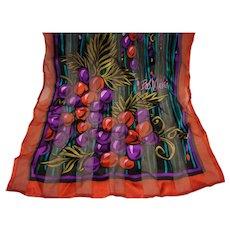Bob Mackie Long Rectangle Silk Scarf Grapes Fruit Dark Jewel Tones Chiffon Stripe